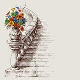 Bosquejo de la escalera y de la verja ilustración del vector