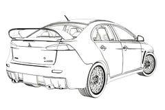 Bosquejo de la evolución X de Mitsubishi del sedán ilustración 3D Fotografía de archivo