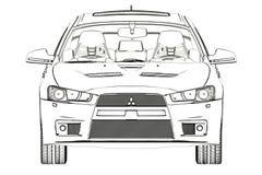 Bosquejo de la evolución X de Mitsubishi del sedán ilustración 3D Foto de archivo