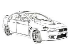 Bosquejo de la evolución X de Mitsubishi del sedán ilustración 3D Imagen de archivo