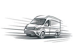 Bosquejo de la furgoneta que mueve encendido la carretera Vector Imagen de archivo libre de regalías