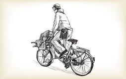 Bosquejo de la gente que es mensajero de la bicicleta con el montar a caballo de la bici del cargo Imagen de archivo libre de regalías