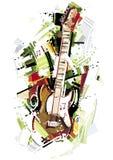 Bosquejo de la guitarra eléctrica Imagenes de archivo