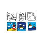 Bosquejo de la historieta del mar Ilustración del vector aislada en el fondo blanco ilustración del vector