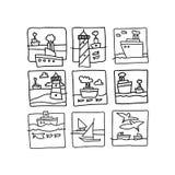 Bosquejo de la historieta del mar Ilustración del vector aislada en el fondo blanco stock de ilustración