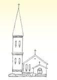 Bosquejo de la iglesia y del chapitel ilustración del vector