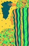 Bosquejo de la moda con la mujer de pelo largo en un su?ter Ejemplo colorido de la historieta del garabato de Boho Ilustraciones  stock de ilustración
