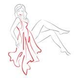Bosquejo de la mujer que se sienta en el vestido rojo stock de ilustración