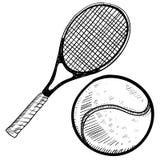 Bosquejo de la pelota de tenis y de la raqueta Imagenes de archivo