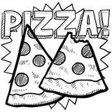 Bosquejo de la rebanada de la pizza Imagen de archivo libre de regalías