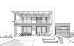bosquejo de la representación 3d de la casa acogedora moderna Imágenes de archivo libres de regalías
