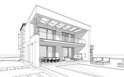bosquejo de la representación 3d de la casa acogedora moderna Fotos de archivo