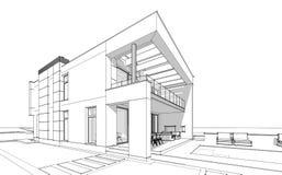 bosquejo de la representación 3d de la casa acogedora moderna Foto de archivo