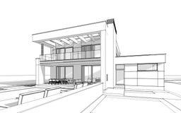 bosquejo de la representación 3d de la casa acogedora moderna Fotografía de archivo libre de regalías