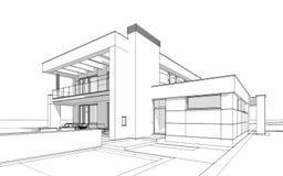 bosquejo de la representación 3d de la casa acogedora moderna Imagen de archivo libre de regalías