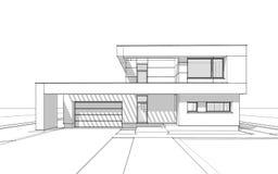 bosquejo de la representación 3d de la casa acogedora moderna Fotografía de archivo