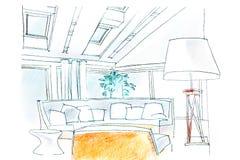 bosquejo de la sala de estar imagen de archivo