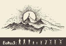 Bosquejo de la salida del sol de la colina del top del hombre de la silueta del vector del drenaje Imágenes de archivo libres de regalías