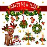 Bosquejo de la tarjeta de Navidad linda con el arco rojo de la cinta, ciervo, muñeco de nieve, estrellas de oro Velas del Año Nue stock de ilustración