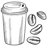 Bosquejo de la taza de café stock de ilustración