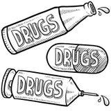 Bosquejo de la tenencia ilícita de drogas Fotografía de archivo libre de regalías