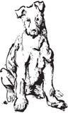 Bosquejo de la tinta del perro stock de ilustración