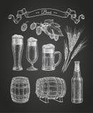 Bosquejo de la tiza de la cerveza stock de ilustración