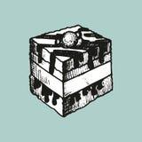 Bosquejo de la torta de chocolate Imagenes de archivo