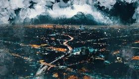 Bosquejo de la visión aérea de Los Ángeles céntrico stock de ilustración