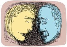 Bosquejo de las caras de los pares Imágenes de archivo libres de regalías