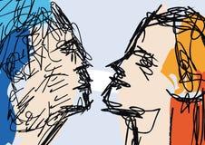 Bosquejo de las caras de los pares Fotografía de archivo libre de regalías