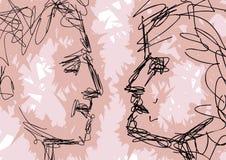 Bosquejo de las caras de los pares Fotografía de archivo
