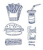 Bosquejo de los alimentos de preparación rápida Foto de archivo
