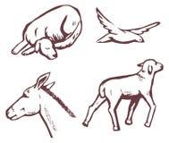 Bosquejo de los animales stock de ilustración