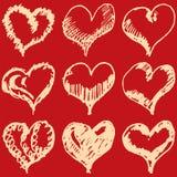 Bosquejo de los corazones de la tarjeta del día de San Valentín fijado en fondo rojo Imagen de archivo