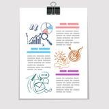 Bosquejo de los elementos de Infographics en la hoja de papel vieja Foto de archivo libre de regalías