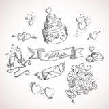Bosquejo de los elementos del diseño de la boda Imagen de archivo libre de regalías