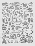 Bosquejo de los iconos de la construcción Imágenes de archivo libres de regalías