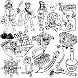 Bosquejo de los iconos del pirata Imagenes de archivo