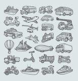 Bosquejo de los iconos del transporte Imagen de archivo libre de regalías