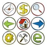 Bosquejo de los iconos del Web. Imagen de archivo libre de regalías