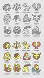 Bosquejo de los iconos del zodiaco Fotografía de archivo