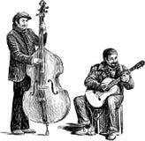 Bosquejo de los músicos de la calle stock de ilustración