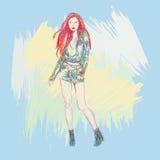 Bosquejo de los modelos de moda stock de ilustración
