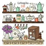 Bosquejo de los potes, tazas, máquina del café en el armario Platos en los estantes Imágenes de archivo libres de regalías