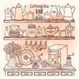Bosquejo de los potes, tazas, máquina del café en el armario Platos en los estantes Imagenes de archivo