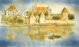 Bosquejo de Malbork Imagen de archivo libre de regalías