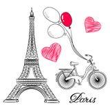 Bosquejo de París, de la torre Eiffel y de la bici con los balones de aire Foto de archivo libre de regalías