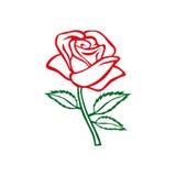 Bosquejo de Rose Adorno de Rose Elementos del diseño floral Ilustración del vector Diseño elegante del esquema de la flor Símbolo Fotografía de archivo libre de regalías
