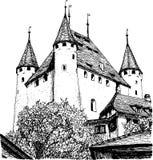 bosquejo de un castillo europeo stock de ilustración